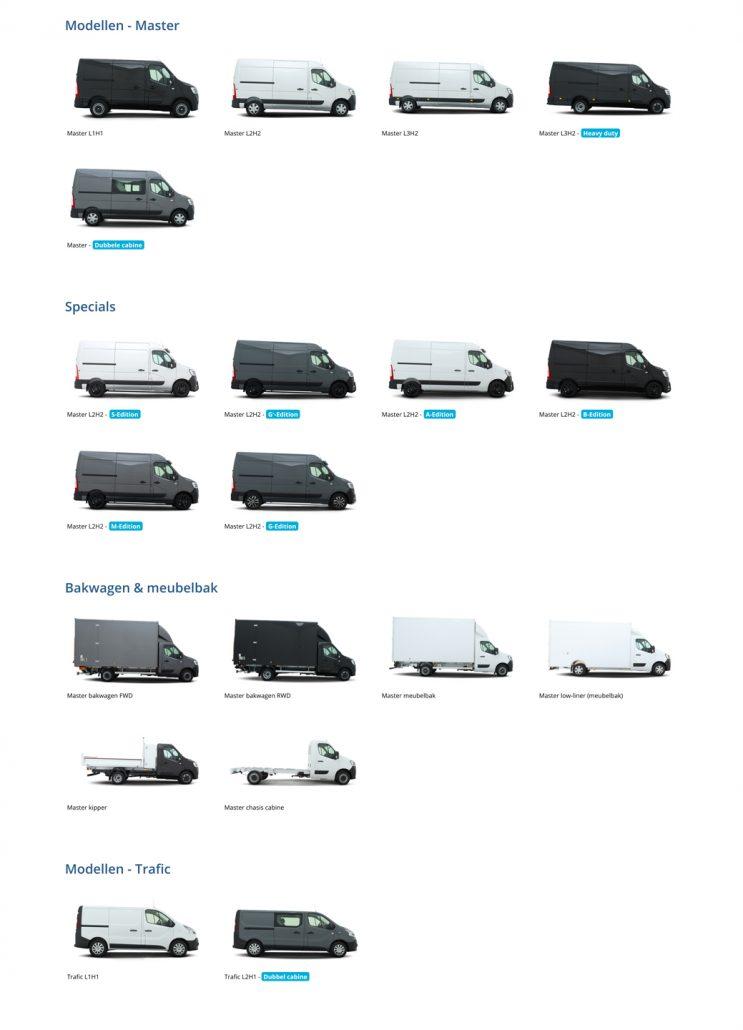 Vissinga bedrijfswagens - Overzicht Renault modellen